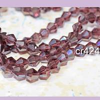 Cristal tupi 6 mm rosa oscuro tornasol, tira de 49 cristales aprox.