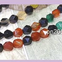 Agatas, Agata multicolor corte hexagonal, 8 mm, tira 20 unidades
