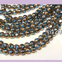 Perla de vidrio color celeste con aplicaciones de cobre de 4 mm, tira de 80 perlas
