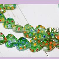 Vidrio murano en forma de corazón color verde con flores, 12 x 12 mm, tira de 32 piezas aprox