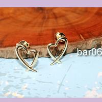 Aro terminado en forma de corazón, baño de oro, 15 x 11 mm, por par, san valentin