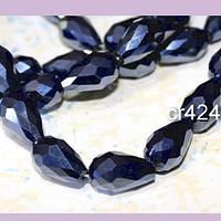 Cristal en forma de gota, color grafito, 15 mm por 12 mm, 10 cristales