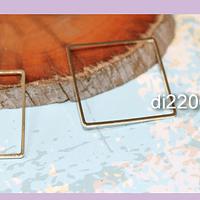 Cuadrado baño de oro de 25 x 25 mm, 1 mm de grosor, por par