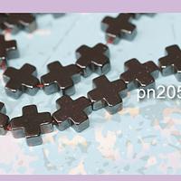 Hematite negra en forma de cruz, 10 x 10 mm, tira de 18 unidades