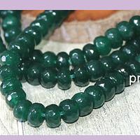Agatas, Agata facetada rondell en color verde, 8 x 4 mm, tira de 78 piedras aprox.