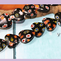 Vidrio murano en forma de corazón color negro con flores, 12 x 12 mm, tira de 32 piezas aprox