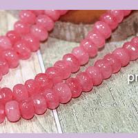 Agatas, Agata facetada rondell en color rosado, 8 x 4 mm, tira de 78 piedras aprox.