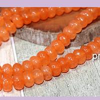 agatas, Agata facetada rondell en color naranja, 8 x 4 mm, tira de 78 piedras aprox.