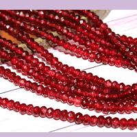 Agatas, Agata rondell color burdeo de 4 mm, tira de 130 piedras aprox