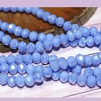 Cristal facetado de 6 mm, color celeste tornasol, tira de 95 cristales aprox.