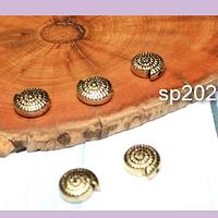 Separador dorado en forma de caracola, 10 x 3 mm, agujero de 1 mm, set de 5