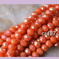 Cristal naranjo tornasol de 8mm por 6mm, tira de 69 unidades aprox