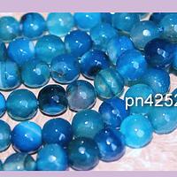 Agatas, Agata de 10 mm en en tonos azules, tira de 38 piedras aprox