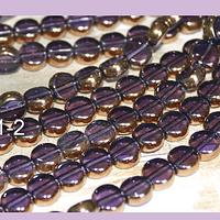 Perla de vidrio y cobre color lila, 8 mm de diámetro, tira de 42 perlas