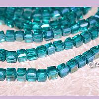 Cristal cuadrado de 4 mm, verde, tira de 99 cristales aprox