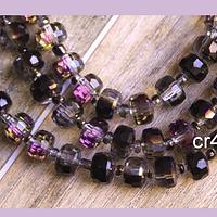Cristal color fucsia y negro tornasol, en forma de cilindro, de 6 mm de diámetro por 5 mm de ancho, tira de 25 unidades