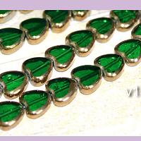 Perla de vidrio y cobre corazón color verde, 9 x 10 mm de diámetro, tira de 30 perlas aprox
