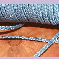 Imitación cuero trenzado buena calidad, color celeste, 4 mm de ancho, por metro