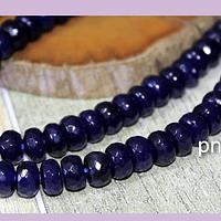 agatas, Agata facetada rondell en color azul, 8 x 4 mm, tira de 78 piedras aprox.