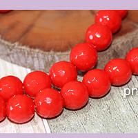 Agatas, Piedra Agata de 10 mm encolor rojo, tira de 37 piedras aprox.