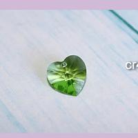 Cristal austriaco en forma de corazón verde, 10 x 10 mm, por unidad, san valentin