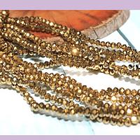 Cristal facetado dorado de, 3 mm x 2 mm, tira de 148 cristales aprox.