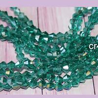 Cristal tupi 4 mm, color verde tornasol, tira de 78 cristales