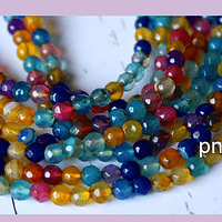 Agatas, Agata de 4 mm, multicolor, 90 piedras aprox