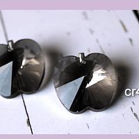Cristal en forma de manzana, color  gris, 20 x 20 mm, set de 2 unidades