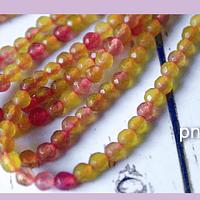 Agatas, agata de 4 mm, en tonos amarillo claro y rosado, tira de 90 piedras aprox.