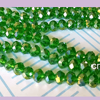 Cristal verde tornasol de 8mm por 6mm, tira de 69 unidades aprox