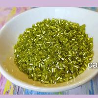 Mini canutillo verde claro 6 x 1,5 mm, set de 25 grs.