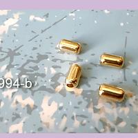 Separador baño de oro, 7 x 4 mm, agujero de 2 mm, set de 48 unidades