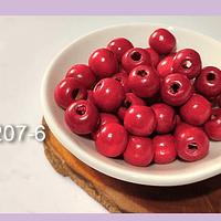 Cuenta de madera color rojo 10 mm, bolsa de 25 grs. , 80 cuentas aprox