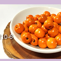 Cuenta de madera color naranjo 10 mm, bolsa de 25 grs. , 80 cuentas aprox