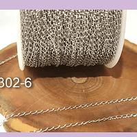 Cadena de acero, eslabón de 2 x 1 mm, por metro