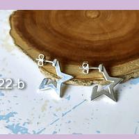 Aro baño de plata en forma de estrella, 18 mm, por par