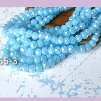 Cristal facetado en color celeste con brillos tornasol 6 mm, tira de 94 cristales aprox
