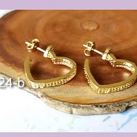 Aro baño de oro en forma de corazón, 14 x 16 mm, por par