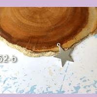 Dije baño de plata en forma de estrella, 14 mm, set de 12 unidades