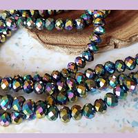 cristal multicolor metálico brillante de 6 mm, tira de 98 cristales aprox.