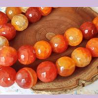 Agatas, Agata en tonos naranjos, 14 mm de diámetro tira de 13 piedras aprox