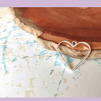 Dije Corazón baño de plata con argolla para colgar, 15 x 17 mm, set de 12 unidades