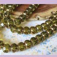 Perla de vidrio color verde con aplicaciones de cobre, 8 x 6 mm, tira de 45 cuentas aprox