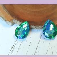 Cristal Soutache verde claro tornasol, 18 x 12 mm, por par