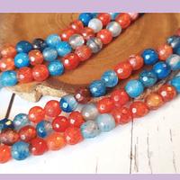 Agatas, Agata de 6 mm multicolor tira de 64 piedras aprox