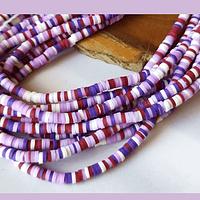 Tira de cuentas de goma, en tonos morados y lilas, 3 mm de diámetro, tira de 40 cm de largo aprox