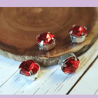 Cristal soutache rojo con aplicación metálica plateada, 8 mm, set de 4 unidades