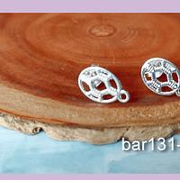 Base de ara baño de plata, 13 x 9 mm, por par