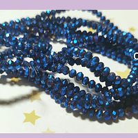 Cristal facetado tornasol azul metálico brillante, 3 mm x 2 mm, tira de 148 cristales aprox.